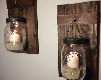 Set of 2 Hanging Mason Jars, Rustic Home Decor, Home & Living, Chain Hanging Candle Holder, Mason Jar Decor, Lighted Mason Jars, Mahogany