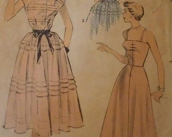 Vintage 50s Tiered Pintucked Cap Sleeve Shirtwaist Afternoon Frock Sun Dress Sewing Pattern 5545 B32