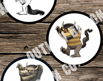 Printable Instant Download Gender Neutral Where The Wild Things Are Crown Max Monster Boy Girl Stickers Markers DIY