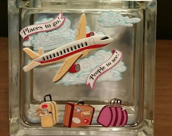 VACATION FUND Glass Block Piggy Bank, Travel Fund Savings Bank