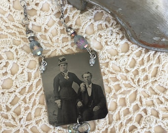 Vintage Tintype Photo Pendant Necklace