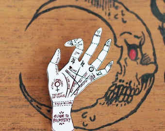 PIN Palmistry hand drawn