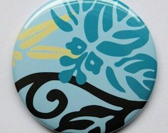 Hawaiian Blue Print Pocket Mirror 2 1/4 inch  2.25