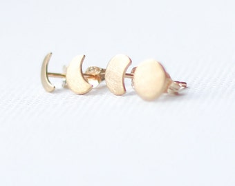 9ct Gold Moon Phase Stud Earrings, mismatched earrings set, 9k solid yellow gold, 9k rose gold