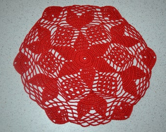 Handmade red doily, 24 cm, Hexagon crocheted with fine cotton