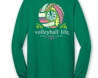 OFFICIAL TM Volleyball Life™ TEAM Colors Custom Monogram Long Sleeve T-Shirt Volleyball Shirt Volleyball T gdhXVs2