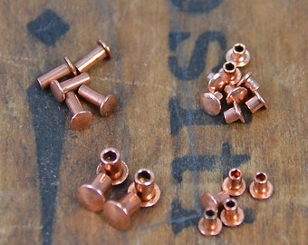Copper Rivets Grommets Eyelets 1/16 or 3/32 size hole different lengths or mix of all lengths Jewelry Supplies