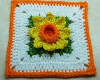 "Crochet 3D Springtime Daffodil Flower 6"" Granny Square Pattern DIGITAL DOWNLOAD ONLY"