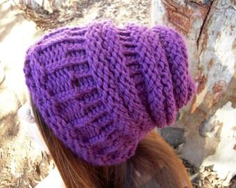 """Knit slouchy hat purple women""""s"""