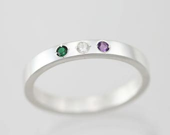 3 Stone Mothers Ring, Small in Sterling Silver (Made to Order)