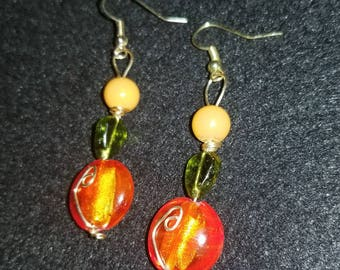 Fire Orange and Green Glass with Gold Wire Accent Dangle Drop Earrings