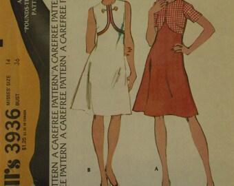"Dress, Shaped Bodice  - 1970's - McCall's Pattern 3936  Uncut  Size 14   Bust  34"""