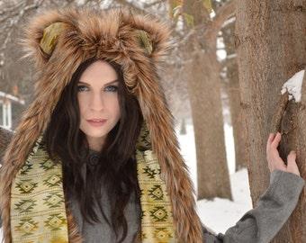 Grizzly Bear Faux Fur Animal Hat
