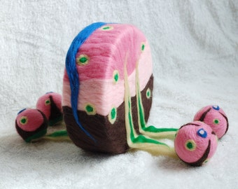 Felt art sculpture with lots of colors, felted wool sculpture, handmade fantasy art work OOAK, unique piece, pink, blue, brown and green