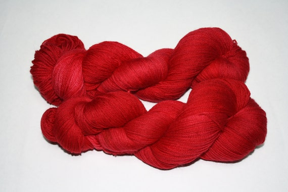 Claire's Red Dress Hand Dyed Sock Yarn