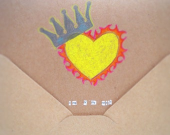 Love Card   Valentine Card   Anniversary Card   Birthday Card   King Of My Heart   Handmade Card   Original Drawing Collage Art   RC003