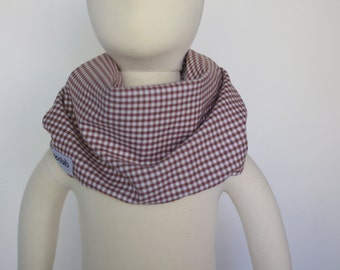 "Modern Bib (Brown Gingham) All in One Scarf & Bib ""Scabib for babies or toddlers"