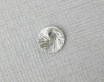 Silver Disk Charm-- 6mm Brushed Sterling Silver Stamping Tag Disk Charm-- 2 PIECES (S35-B3-06)