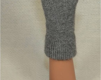 Hand Knit Alpaca Fingerless Gloves in Natural Gray