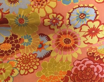 2 yds. Asian Circles in orange by Kaffe Fassett collection