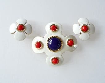 Hobe Red White Blue Enamel Brooch Pin and Earrings Demi Parure with White Enamel Blue and Red Glass Beads Gold Tone Accents TreasuresOfGrace