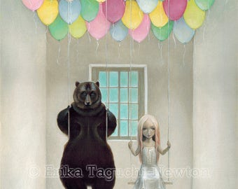 "Bear with Girl 9x12 Art, Balloon Painting, Pop Surrealism Art Print,  ""Balloon-filled Room"""