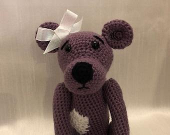 Handmade crocheted knitted one of a kind purple bear