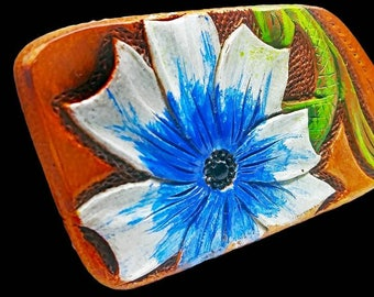 Bestseller floral leather keychain, white and blue flower,floral fob, leather keychain, best selling keyrings
