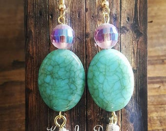 Purple Turquoise Tassel Earrings