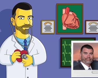 Cardiologist Gift  - Custom Portrait as Yellow Cartoon Character / Cardiologist Cartoon / Cardiologist Gift Idea / Cardiology Gift Idea