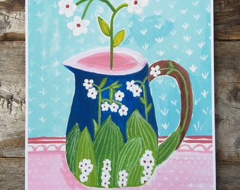 White Flowers in Vintage Blue Pitcher Archival Giclee Print of Gouache Painting