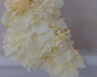 Dress made of Yellow Silk Flowers