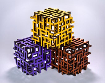 Laser Cut Wooden Geometric Cube