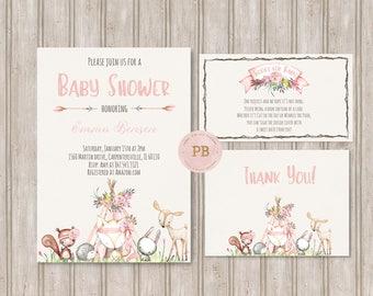 Woodland Baby Shower Invitation- Woodland Animal Birthday Invitation, First Birthday, Deer Invitation, Fox invitation