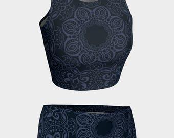 Dark mandala (Yoga) - Swimwear Combo Crop Top + Mini Shorts - From XL to XS