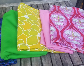 3 pounds 5 pieces scrap vintage fabrics // approx 9 yards by weight // mid century prints // Quilting Scrap Fat Quarters Fabric Remnants