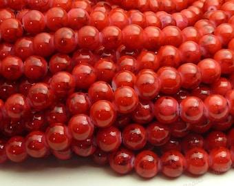 Red and Black Swirled Round Glass Beads - 8mm Bohemian Beads - 25pcs - BN32