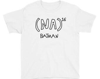 NA to the 16th power Batman Math Equation Youth Short Sleeve T-Shirt