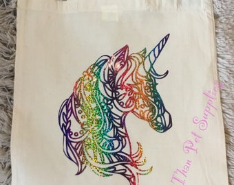 Printed Tote Bag with Rainbow holographic Unicorn design