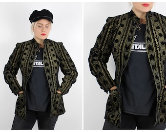 Vintage 1980's Black and Gold Velvet Jacket by Monsoon / UK 12 / M Medium / Free Uk Shipping