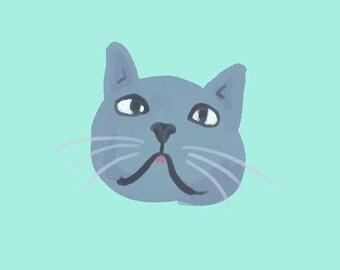 Simple Painted Cat Face Portrait