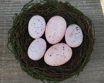 Rustic Bird Nest with Five Large Handmade Speckled Faux Chicken Eggs, Pink Pastel Farmhouse Country Eggs Craft Supply, Item #593829597