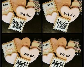 Wedding, We Do, Celebrate, Mr. & Mrs., Decorated Sugar Cookies - One Dozen