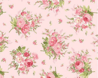 Pink Flower Fabric, Shabby Chic Floral Quilt Fabric, Maywood Studio Heather MAS 8392P Jennifer Bosworth, Bouquet, Cottage Chic Floral Cotton