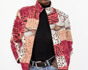 80s Vintage Red Animal Print Bomber Jacket