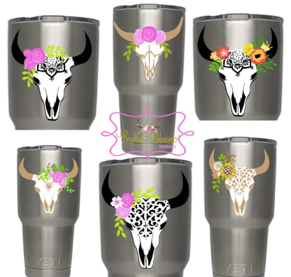 Floral Steer Skull Monogram Decal Cow Skull Floral Skull