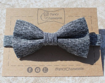 Black and Grey Woven bowtie, classic bowtie, mens bowtie, adjustable pre-tied bowtie, tie accessory, christmas gifts