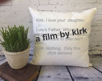 Gilmore Girls throw pillow cover/ Gilmore Girls fan gift/ Gilmore Girls quote/ A Film by Kirk/ Stars Hollow pillow