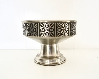 Vintage Norwegian Pewter Bowl, Decorated High Bowl, Norwegian Vest Tinn Pewter Bowl, Scandinavian Pewter, Folk Traditional Metal Design