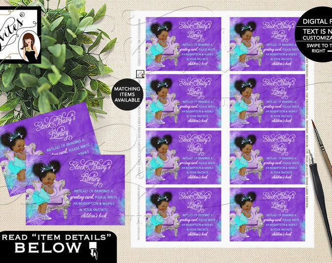 """Book Request Purple Lavender Aqua Turquoise, Princess Baby Shower, African American Afro Puffs Vintage Baby Girl,"""" 3.5x2.5"""" 8/Sheet. Gvites"""